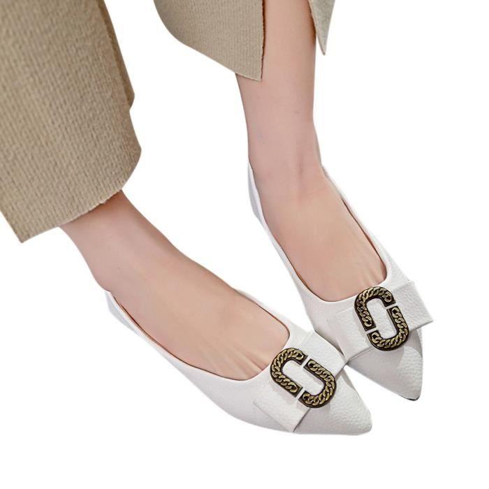Femmes pour femmes solide talon plat bout pointu Casual Mocassins Chaussures simples veberge@7746