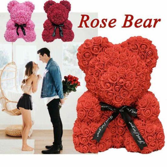 Ours en Rose Eternel Nounours Mousse Cœur d/'Amour Fleur Cadeau amoureux