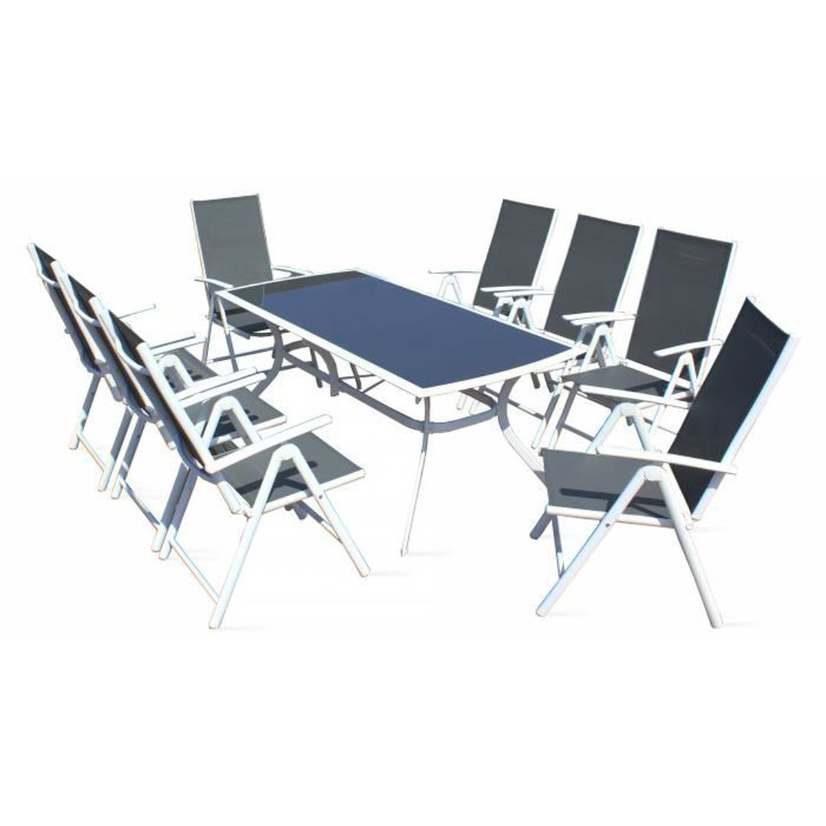 Table et chaises de jardin - 8 fauteuils pliants - Aluminium ...