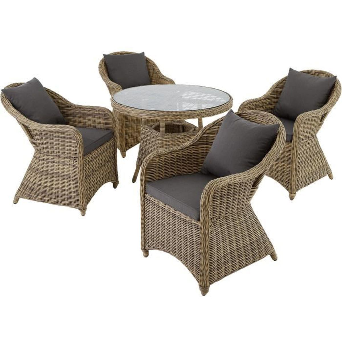 Salon de jardin zurich 4 chaises fauteuils 1 table ronde r sine tress e poly rotin structure - Table ronde salon de jardin ...