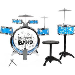 BATTERIE Instrument Musique Kit de batterie Bleu Jouet Cade