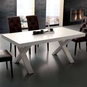 TABLE À MANGER SEULE Table repas extensible GALILEO 90x180-280cm blanch