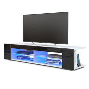 MEUBLE TV Meuble Tv  blanc  mat  Façades en noir  laquées le