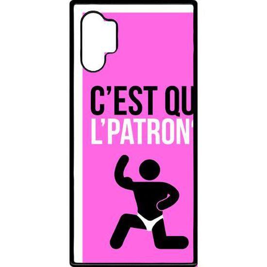 Coque smartphone - C EST QUI L PATRON 9 - compatible avec Samsung Galaxy Note 10 - Plastique - bord Noir