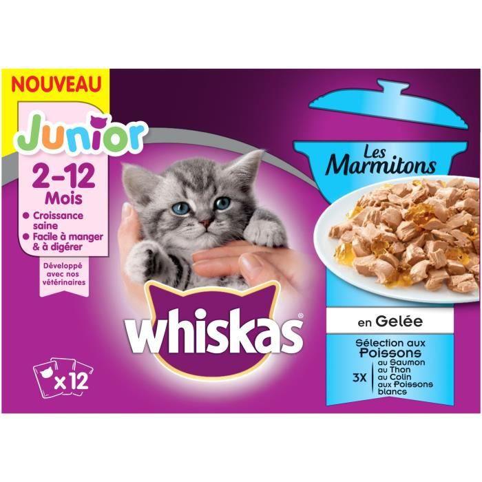 WHISKAS Les Marmitons Junior - Sachets fraîcheur aux poissons en gelée - 4 variétés - Pour chaton - 12 x 85 g