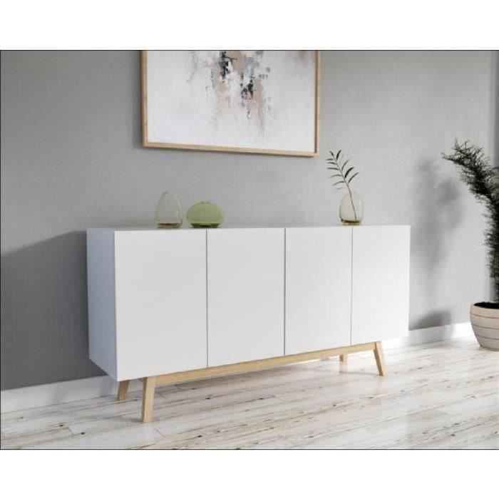Home Buffet Bas Scandinave Laque Blanc Mat Pietement En Bois