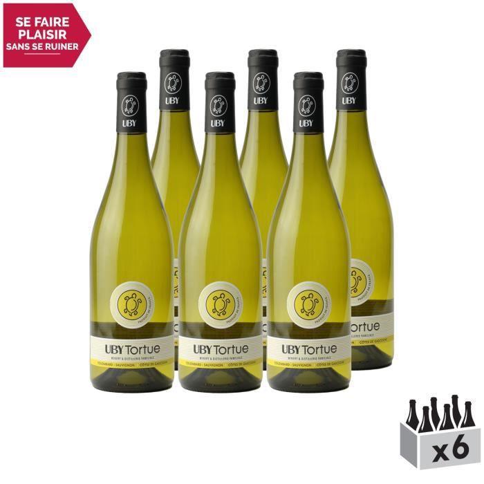 Les Tortues Colombard Sauvignon Côtes de Gascogne Blanc 2019 - Lot de 6x75cl - Domaine d'Uby - Vin IGP Blanc du Sud-Ouest - Cépages