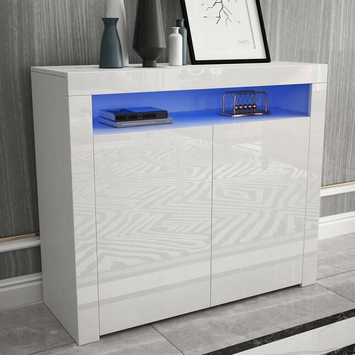 NOUVEAU Buffet Bas avec Lumière Contemporain Blanc Laqué brillant - L 108 cm(Britain Standard)