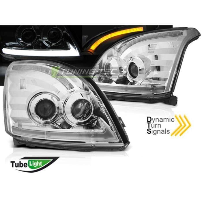 Paire feux phares Toyota Land Cruiser 120 03-09 TubeLight Led Chrome-33022230