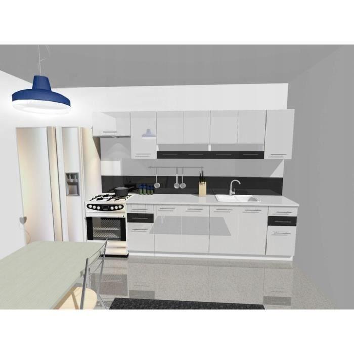 KING - Cuisine Complète Linéaire L 300cm 9pcs - Plan de travail INCLUS - Meubles ensemble cuisine moderne - Portes vitrées -