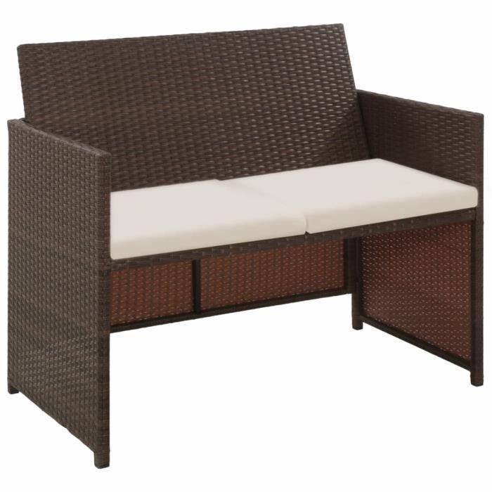 MMCZ® Canapé de jardin Design à 2 places - Sofa Divan Banquette de jardin avec coussins - Marron Résine tressée ❤6819