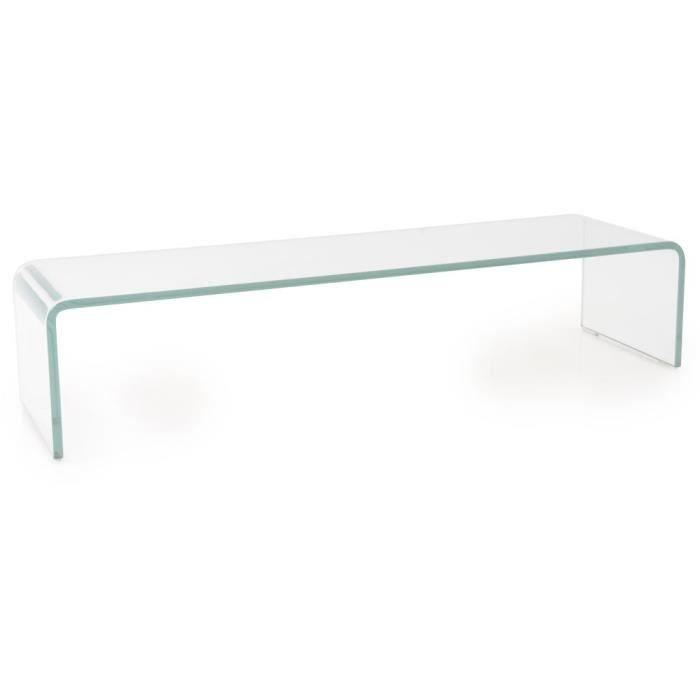 Support verre courbé transparent téléviseur meuble appartement salle de séjour chambre