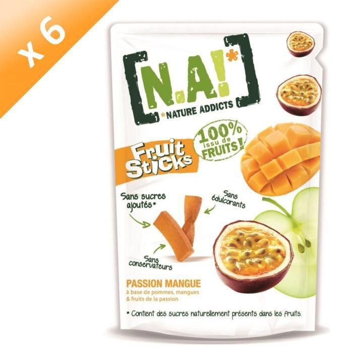 [LOT DE 6] N.A Fruit Sticks Doypack de Passion - Mangue - 40 g