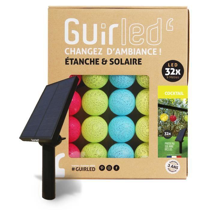 Guirlande lumineuse boules d'extérieur Solaire Guinguette LED- Étanche - 32 boules 6,4m - Cocktail