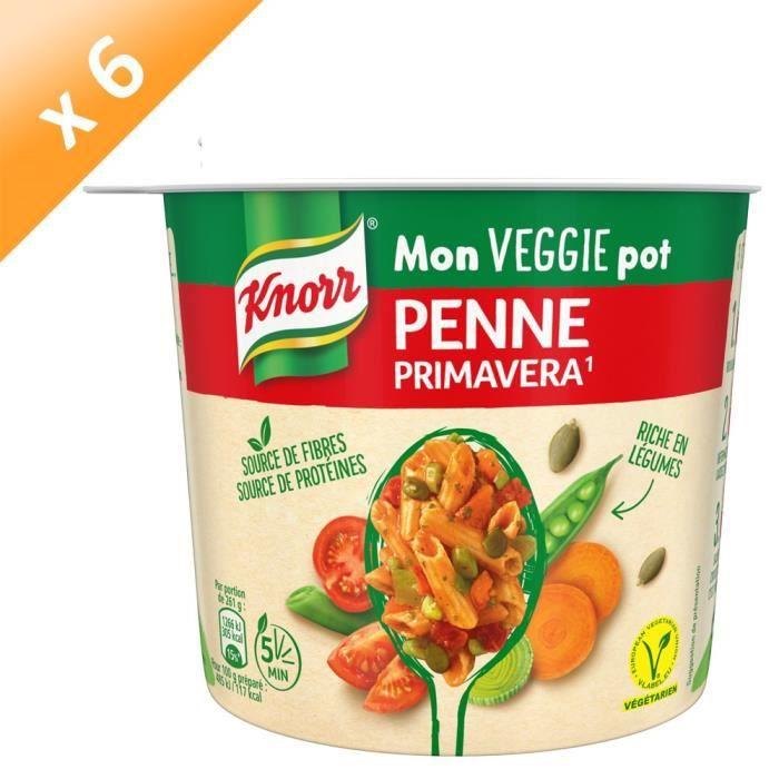 KNORR Plat Préparé Déshydraté Pâtes Penne à la Primavera Végétarien - Lot de 6x 72 g