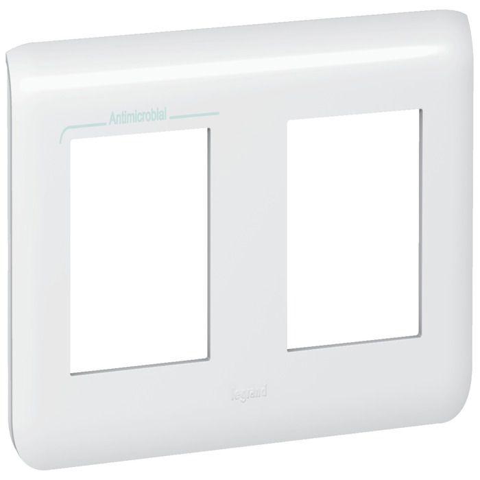 LEGRAND Plaque finition 2x2 modules Mosaic blanc - Horizontal
