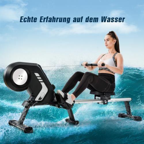 Fitness Rameur pliable avec 8 niveaux de résistance magnétique pédales antidérapantes et roues de transport salle de gym à domicile