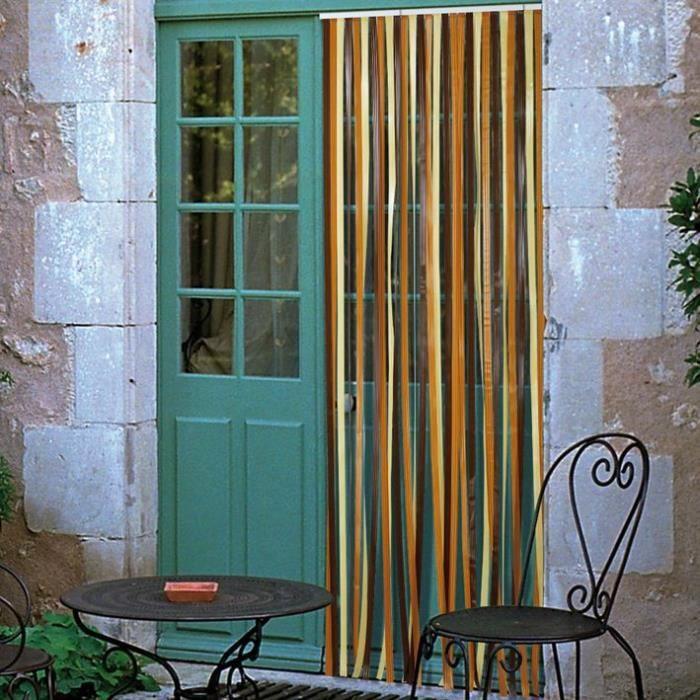 Rideau de porte Antilles en polyéthylène - 90x220 cm - brun et beige