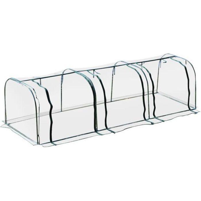 Serre de jardin tunnel serre à tomates 3,5L x 1l x 0,8H m 3 portes zippées bâche PVC transparent métal époxy vert 350x100x80cm