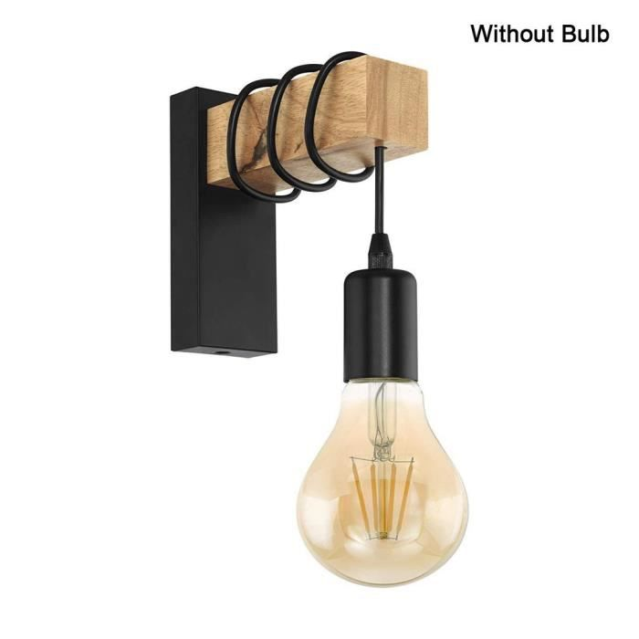 2pcs Applique noir, sans ampoule en bois et en fer forgé,