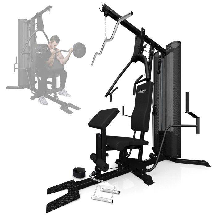 Physionics® Station de Musculation Multifonction - avec Poids de 65.7kg - Banc d'Haltérophilie Complet, Appareil de Fitness, Gym