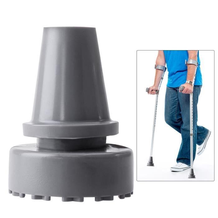 ROSENICE 19mm diamètre intérieur tête en caoutchouc béquille accessoires antidérapant conseils bâton de marche pieds (gris)