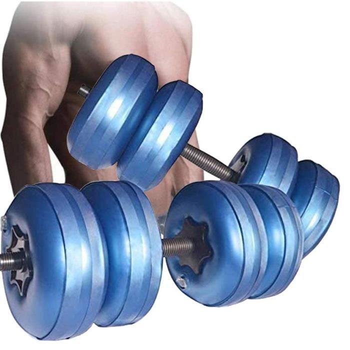 Dumbbells remplis d'eau ajustable 15 ~ 20 kg Haltères de voyage Bodybuilding Poids de levage de musculation entraînemen Bleu