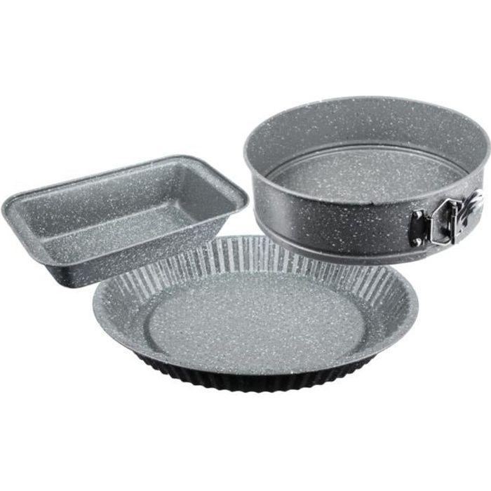 Pack x3 Moules à Gâteaux sans PFOA : Moule à cake 25x13cm + Moule à Tarte Ø28cm + Moule à charnière fond amovible Ø24cm