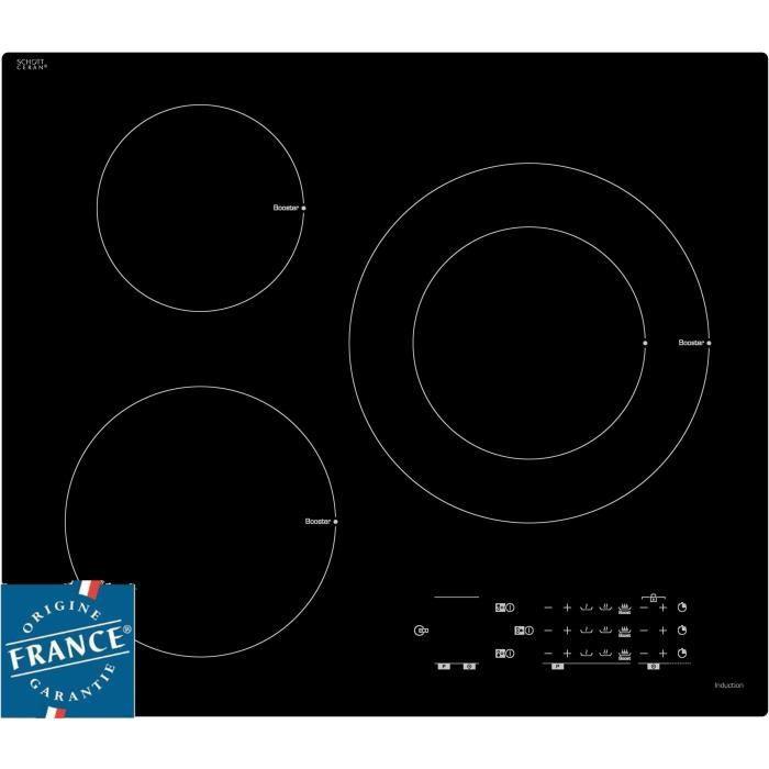 SAUTER SPI4361B - Table de cuisson induction - 3 zones - 7200W - L60 x P52cm - Revêtement verre - Noir