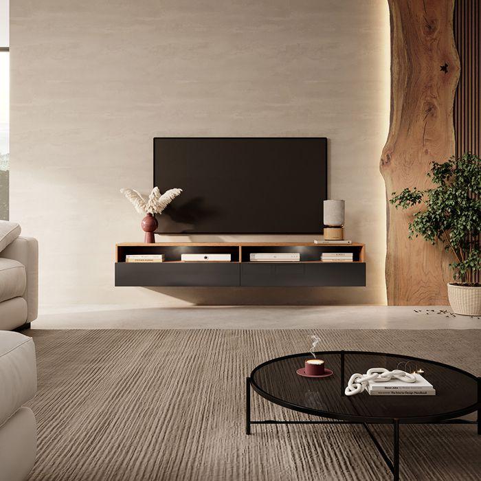 Meuble TV - REDNAW - 180 cm - chêne wotan / noir brillant - 2 niches ouvertes - style moderne - avec LED