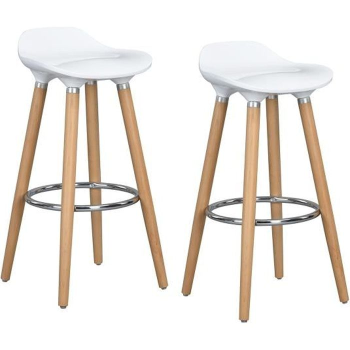Furniturer Lot De 2 Tabourets De Bar Cuisine Scandinaves