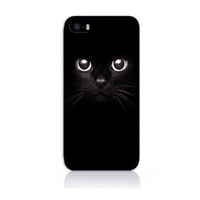 coque iphone 4 4s chat noir yeux chaton moustache