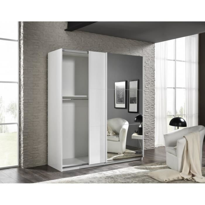 armoire avec 2 portes coulissantes180 blanc brillant achat vente armoire de chambre cdiscount. Black Bedroom Furniture Sets. Home Design Ideas