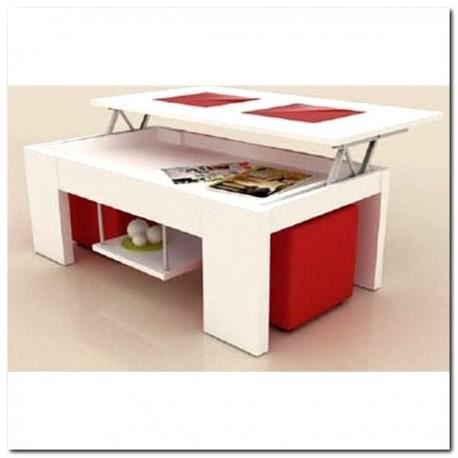 Table basse plateau relevable m lamin blanc 2 poufs rouge for Table basse scandinave plateau relevable