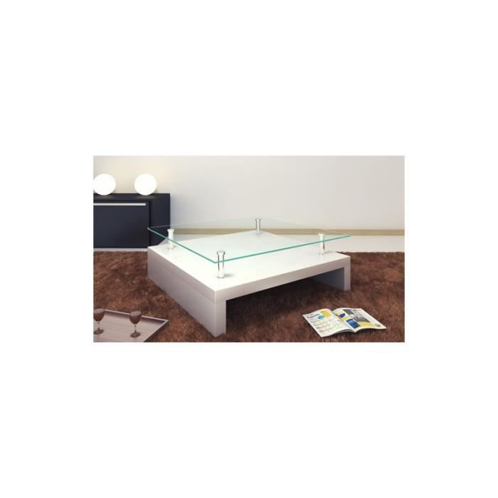 Table basse de salon carr e plateau en verre st achat vente table bass - Table basse de salon en verre ...