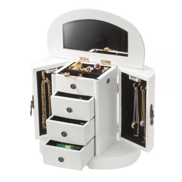 armoire bijoux en bois avec miroir blanc achat. Black Bedroom Furniture Sets. Home Design Ideas