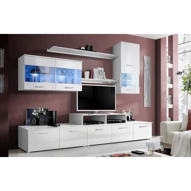 meuble tv design laqu panama blanc avec eclair achat. Black Bedroom Furniture Sets. Home Design Ideas