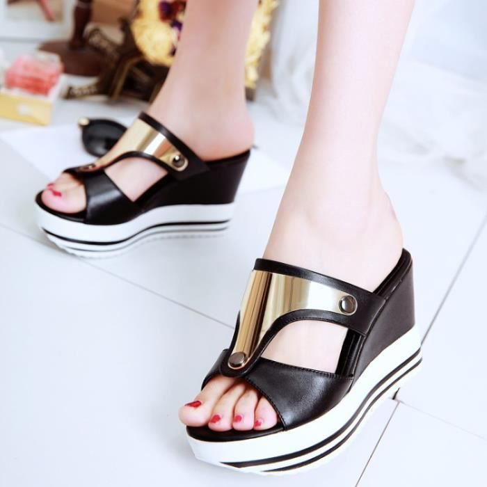New black metal thick soles wedges slippers platform sandals