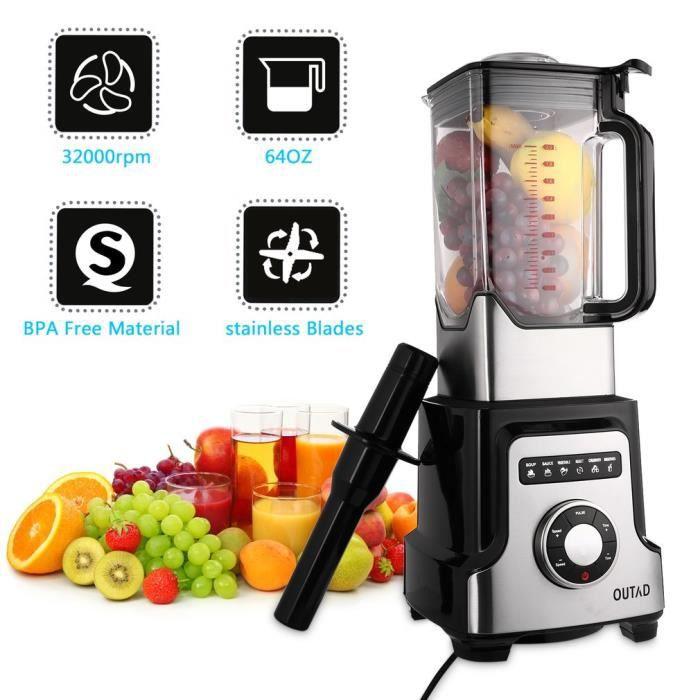Haute Performance Stand Mixer 32.000 U Haute Performance Mixeur smoothie maker en Noir
