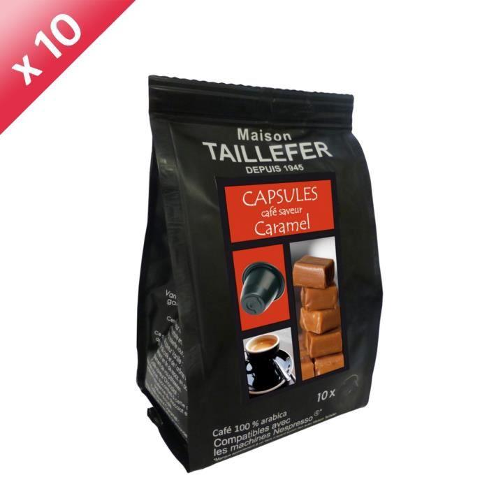 CAFÉ Lot de 10 sachets de 10 capsules Café Saveur Caram