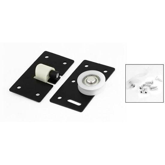 Rectangle Fer Noir 30 mm Diamètre de roulette de porte coulissante pour armoire