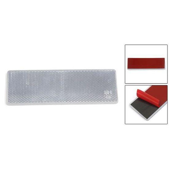 Auto-adh/ésif en plastique blanc plaque avertissement r/éflecteur Rectangle w//o Pas vis