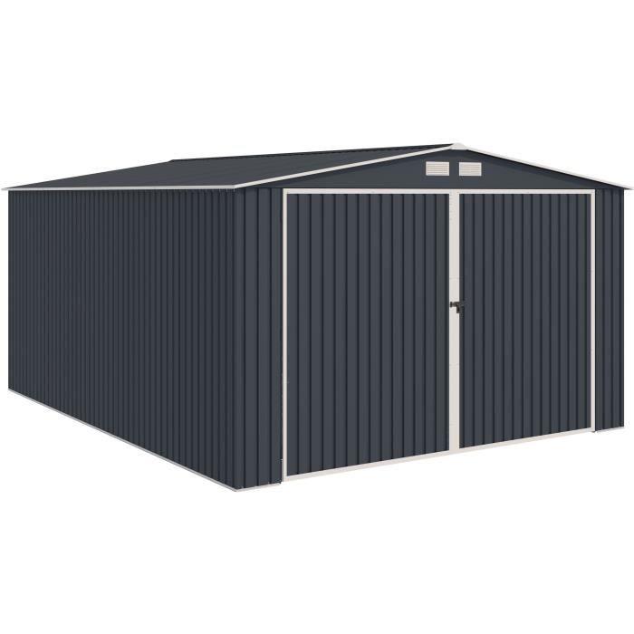 Garage acier 18,2 m² - Avec kit d'ancrage inclus