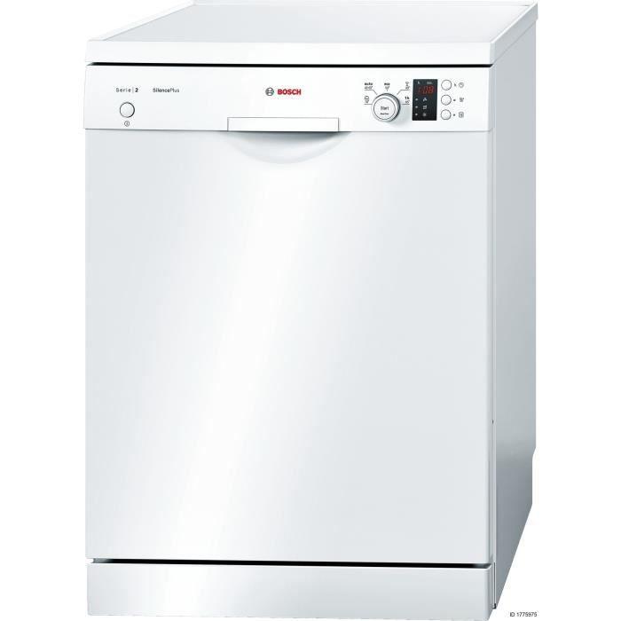 Lave-vaisselle pose libre BOSCH SMS25AW04E - 12 couverts - Moteur induction - Largeur 60 cm - Classe A+ - 46 dB - Blanc