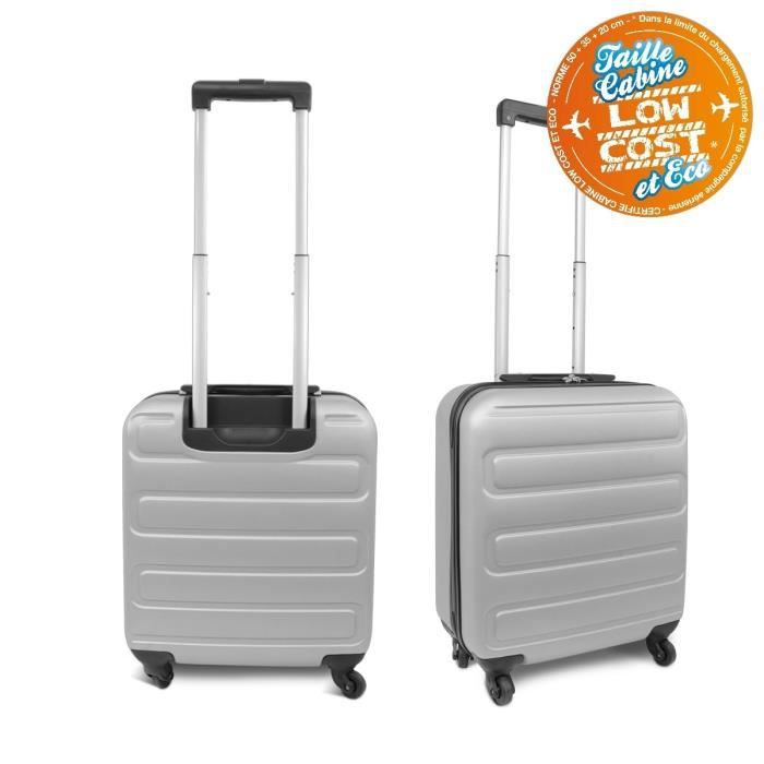KINSTON Valise Cabine Low Cost Rigide ABS 4 Roues 48 cm Gris