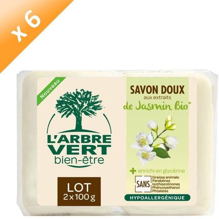 L'ARBRE VERT Savons Bien-être - Jasmin Bio - 2 x 100 g - Lot de 6
