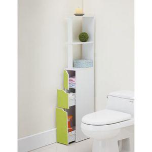 COLONNE - ARMOIRE WC TOP Colonne de toilette L 15 cm - Blanc et vert cl