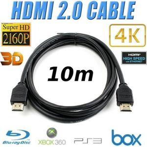CÂBLE TV - VIDÉO - SON TV DVD CABLE HDMI 2.0 10m 3D 4K UltraHD 2060p noir