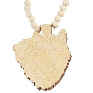 CHAINE DE COU SEULE Bois Style Perle Chaîne - Loup beige