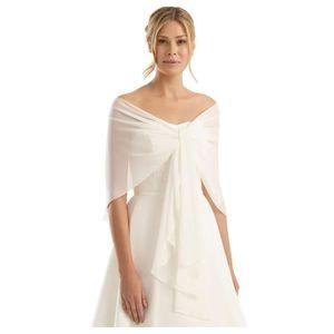 Taille 230 CM X 35 cm-Blanc Étole écharpe-Mariée étole Robe de Mariée mariage mousseline de soie